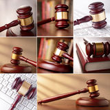 Set of images of the gavel. In the courtroom and computer keyboard Stock Photo
