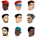 A set of images of heads men can be hair or a beard. Illustration Stock Images