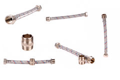Set of images hosepipe with screw-nut. Isolated on the white background Stock Photos