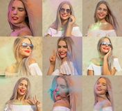Set of images with joyful blonde model posing with exploding colorful Holi paint at the desert. Set of images with joyful blonde woman posing with exploding royalty free stock images