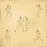 Set of images of karate. On old paper Stock Photo