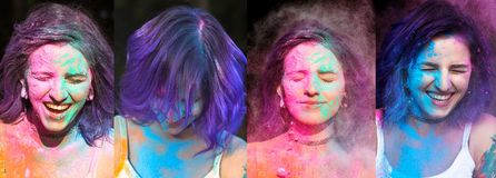 Set of images with laughing woman with purple hair celebrating H. Set of images with laughing young women with purple hair celebrating Holi festival stock photos