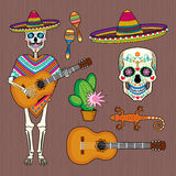 Set of images of Mexican culture with skull Calavera Royalty Free Stock Image