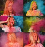 Set of images with pleased blonde model posing with exploding colorful Holi paint. Set of images with pleased blonde woman posing with exploding colorful Holi stock photography