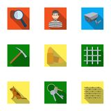 Set of images about the prison and prisoners. Surveillance of thieves, court, crime and punishment.Prison icon in set. Collection on flat style vector symbol Stock Image