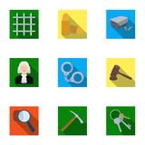 Set of images about the prison and prisoners. Surveillance of thieves, court, crime and punishment.Prison icon in set. Collection on flat style vector symbol Stock Photos