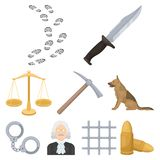 Crime related icon set Royalty Free Stock Images