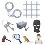 Set of images about the prison and prisoners. Surveillance of thieves, court, crime and punishment.Prison icon in set Stock Image