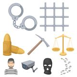 Set of images about the prison and prisoners. Surveillance of thieves, court, crime and punishment.Prison icon in set Stock Images