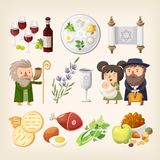 Set of images related to Passover or Pesach - traditional Jewish holiday. Set of images related to Passover or Pesach holiday. Traditional food, people and royalty free illustration