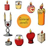 Set of images of romantic candles royalty free illustration