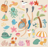 A set of images sea and beach. A set of images. Maritime summer vacation on the beach stock illustration