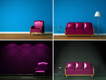 Set of images of simple interiors Royalty Free Stock Image