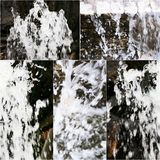 Set of images of small artifitial waterfall. Collage of falling water in fountain. Set of images of small artifitial waterfall. Collage of falling water in park Royalty Free Stock Photos