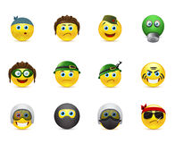 Set of  images smileys with military elements Stock Photos