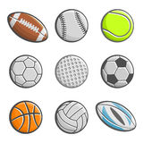 A set of images of sports balls Stock Image