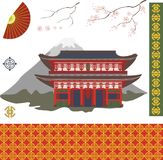 A set of images of traditional elements of Asian culture. Color isolated vector illustration. royalty free illustration