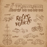 The set of images  transport in retro style. Stock Photography