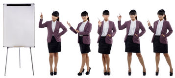 Set of images of young attractive business woman standing with a Stock Image