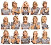 Set of images of a young woman with different emotions, white background, close-up stock photography