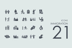Set of immigration icons Stock Photography