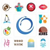 Set of import export, jellyfish, solar panel, woodwork, pregnancy, mars, homeopathy, chemical company, penguin icons. Set Of 13 simple editable icons such as Stock Images