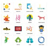 Set of import export, lungs, , super market, fight club, trekking, fried chicken, window cleaning, solar system icons. Set Of 16 simple editable icons such as Stock Photos