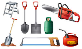Set of important tools. Illustration of the set of important tools on a white background Royalty Free Stock Photo