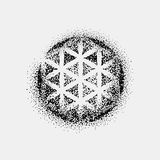 Set of impossible and other tattoo shapes, dotwork, blackwork all made of dots. Geometrical, sacred figures stars and Stock Images