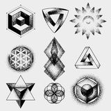 Set of impossible and other tattoo shapes, dotwork, blackwork all made of dots. Geometrical, sacred figures stars and Royalty Free Stock Images
