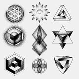 Set of impossible and other tattoo shapes, dotwork, blackwork all made of dots. Geometrical, sacred figures stars and Stock Photo