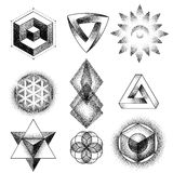 Set of impossible and other tattoo shapes, dotwork, blackwork all made of dots. Geometrical, sacred figures stars and Royalty Free Stock Image