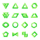 Set of impossible shapes. Optical Illusion Royalty Free Stock Photo