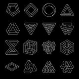 Set of impossible shapes. Optical Illusion. Vector Illustration isolated on white. Sacred geometry. White lines on a. Black background stock illustration