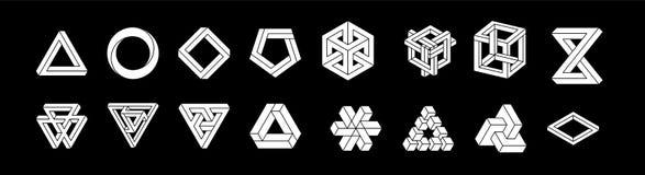 Set of impossible shapes. Optical Illusion. Vector Illustration isolated on white. Sacred geometry. White shapes. on a. Black background stock illustration