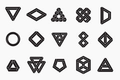 Set of impossible shapes, un-expanded strokes Stock Images