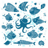Set imprint cute fish and octopus for the design. Royalty Free Stock Photo