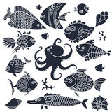 Set imprint cute fish and octopus for the design. Stock Photography