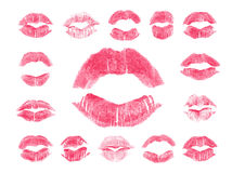 Set of 15 imprint of pink lipstick. Stock Photos