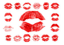 Set of 17 imprint of red lipstick Royalty Free Stock Image