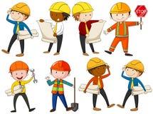Set inżyniery i pracownicy budowlani ilustracji
