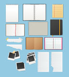 Set include notebooks and papers Royalty Free Stock Images