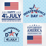 Set of Independence day greeting cards, flyers. Independence day posters. Patriotic banner for website template. Vector illustrati. On Stock Photography