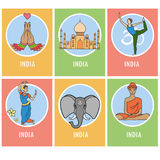Set of India cartoon card or icons Royalty Free Stock Photography