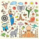 Set of India cartoon icons Royalty Free Stock Image