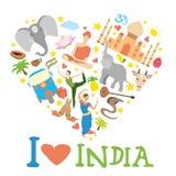 Set of India  heart shaped Royalty Free Stock Image