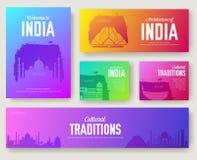 Set India kulturalny kraj i punkty zwrotni ornamentujemy ilustracyjnego pojęcie Sztuka tradycyjna, książkowy, plakatowy, abstrakt ilustracja wektor