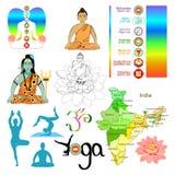 Set india meditation, yoga shiva. vector illustration Royalty Free Stock Image