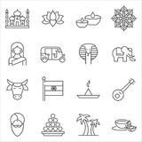 Set of India Symbols line vector icons. royalty free illustration