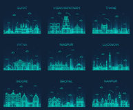 Set Indian cities vector illustration linear. Set of Indian cities skylines Surat Visakhapatnam Thane Patna Nagpur Lucknow Indore Bhopal Kanpur Trendy vector Stock Photography
